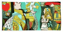 Lewis Carrolls Alice, Red Queen And Cards Bath Towel by Marian Cates