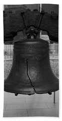 Hand Towel featuring the digital art Liberty Bell Bw by Chris Flees