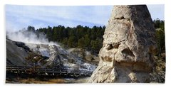 Liberty Cap At Mammoth Hot Springs Bath Towel