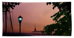 Hand Towel featuring the digital art Liberty Fading Seascape by Steve Karol