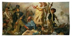 Hand Towel featuring the painting Liberty Leading The People By Eugene Delacroix 1830 by Movie Poster Prints