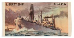 Liberty Ship Stamp Hand Towel by Heidi Smith