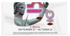 Libra Sun Sign Hand Towel by Shelley Overton
