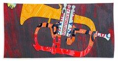 License Plate Art Jazz Series Number One Trumpet Hand Towel