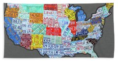 License Plate Map Of The United States Edition 2016 On Steel Background Bath Towel