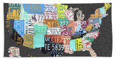 License Plate Map Of The United States On Gray Felt Large Format Sizing Bath Towel