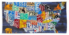 License Plate Map Of The Usa On Blue Wood Boards Bath Towel