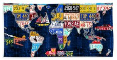 License Plate Map Of The World Travel Recycled Vintage Art With Augustine Quote Hand Towel