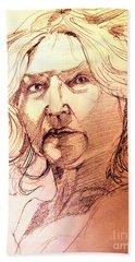 Life Drawing Sepia Portrait Sketch Medusa Hand Towel
