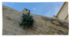 Life On Bare Rock - Up On The Citadel Wall In Victoria Gozo Bath Towel