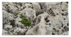 Life On Bare Rock - Weathered Limestone And Little Green Survivors Bath Towel
