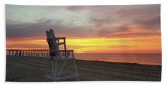 Lifeguard Stand On The Beach At Sunrise Hand Towel