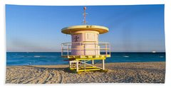 Lifeguard Station At South Beach, Miami Hand Towel