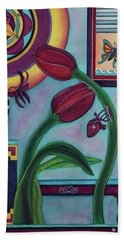 Bath Towel featuring the painting Lifting And Loving Each Other by Lori Miller