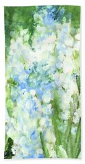 Bath Towel featuring the painting Light Blue Grape Hyacinth. by Laurie Rohner