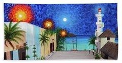 Light House Playa Del Carmen Version II Hand Towel by Angel Ortiz
