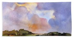 Bath Towel featuring the painting Light Over The Hills by Rae Andrews