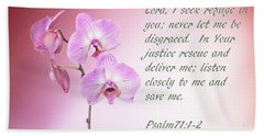Light Pink Orchid Psalms 71 Hand Towel by Linda Phelps