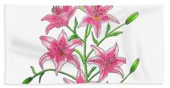 Light Pink Tiger Lily Hand Towel