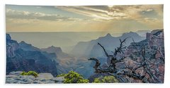 Light Seeks The Depths Of Grand Canyon Hand Towel