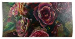 Hand Towel featuring the painting Light Striking Deep Red Roses by Ryn Shell