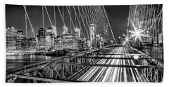 Light Trails Of Manhattan Bath Towel by Az Jackson