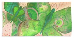 Lighthearted In Green On Red Hand Towel