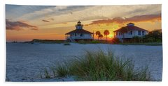 Lighthouse And Keeper's Quarters At Sunset Hand Towel