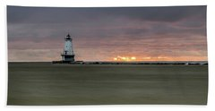 Lighthouse And Sunset Bath Towel