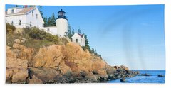Lighthouse At Bass Harbor Head, Acadia Hand Towel