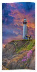 Lighthouse At Pigeon Point Hand Towel
