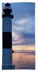 Lighthouse At Sister Bay Marina At Sunset Hand Towel