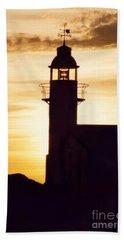 Lighthouse At Sunset Hand Towel