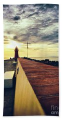 Hand Towel featuring the photograph Lighthouse At Sunset by Silvia Ganora