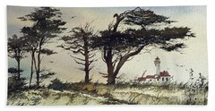 Bath Towel featuring the painting Lighthouse Coast by James Williamson
