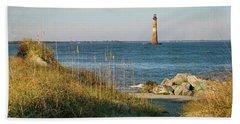 Lighthouse From Beach At Dusk Bath Towel