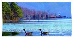 Lighthouse Geese, Smith Mountain Lake Bath Towel