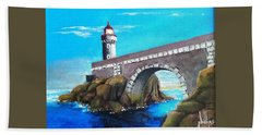 Bath Towel featuring the painting Lighthouse In Brest, France by Jim Phillips