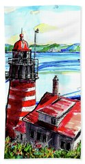 Hand Towel featuring the painting Lighthouse In Maine by Terry Banderas