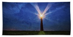 Hand Towel featuring the digital art Lighthouse In The Dusk by PixBreak Art