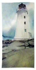 Lighthouse Rock Hand Towel by Ed Heaton