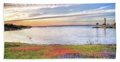 Lighthouse Sunset At Lake Buchanan Bath Towel