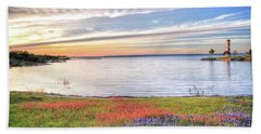 Lighthouse Sunset At Lake Buchanan Bath Towel by Lynn Bauer