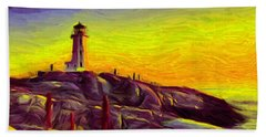 Lighthouse Sunset Hand Towel