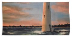 Lighthouse Waves Bath Towel