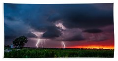 Lightning Bugs - Firefly And Lightning At Sunset In Oklahoma Bath Towel
