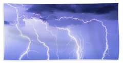 Lightning On The Plains Bath Towel