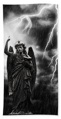 Lightning Strikes The Angel Gabriel Hand Towel