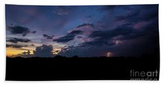 Hand Towel featuring the photograph Lightning Sunset by Brian Jones