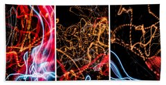 Lightpainting Triptych Wall Art Print Photograph 5 Hand Towel by John Williams